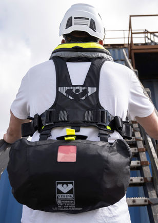 Prepared for the optional VIKING YouSafe™ Walk to Work immersion suit in a pouch